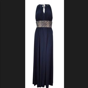Navy R&M Richards Keyhole Gown, Gold accents